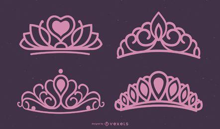 Conjunto de vectores de tiara rosa
