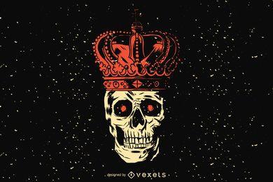 Diseño de ilustración de cráneo de rey