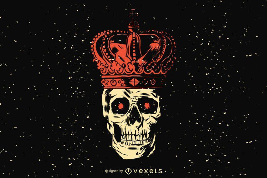 Projeto de ilustração de crânio de rei