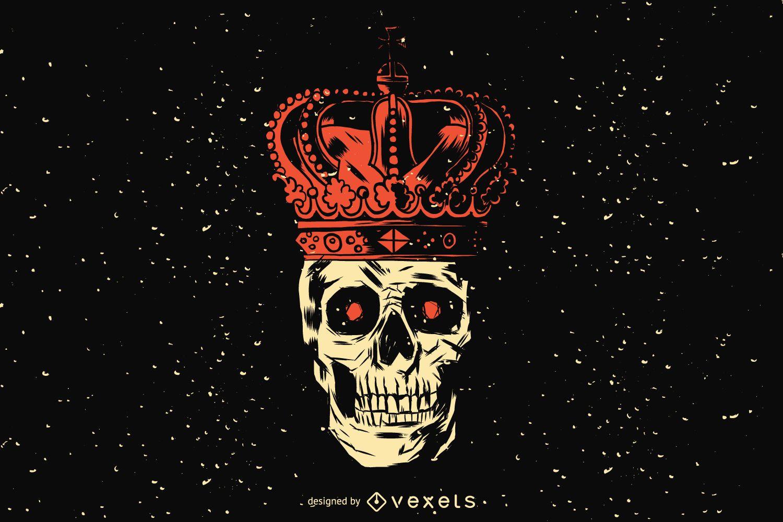 Desenho de ilustração do crânio do rei