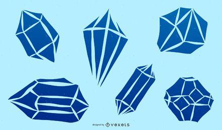 Conjunto de silhueta de diamante