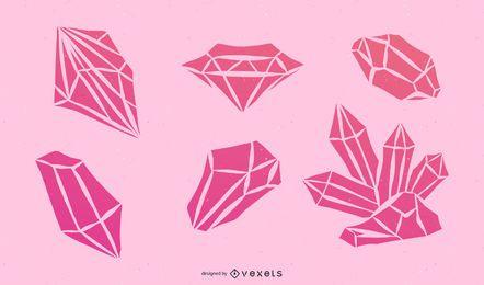 Conjunto de vectores de diamante rosa