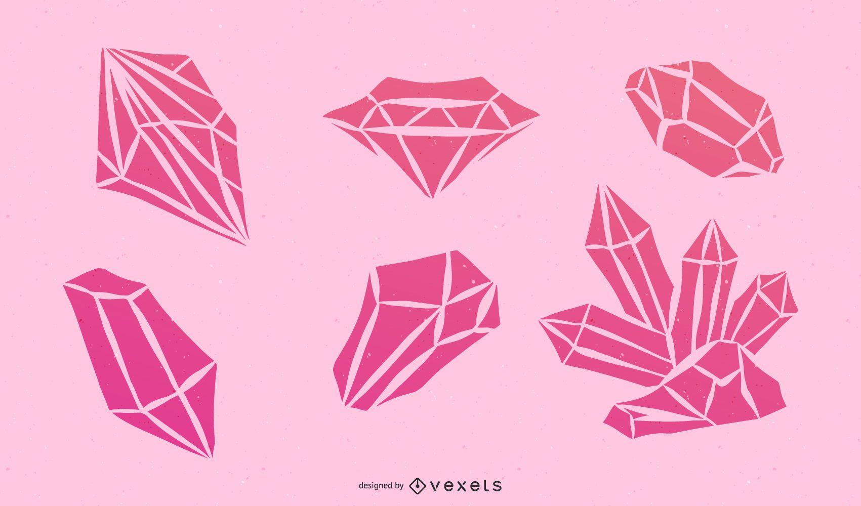 Pink Diamond Vector Set