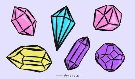 Juego de trazos de diamantes