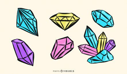 Colección colorida del vector del diamante