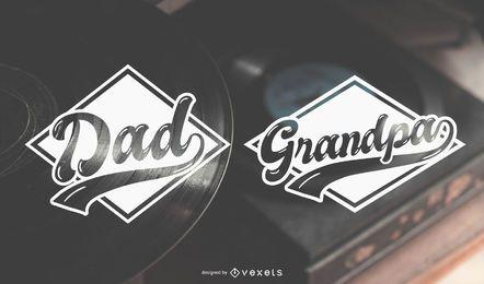 Papá y abuelo etiqueta diseños