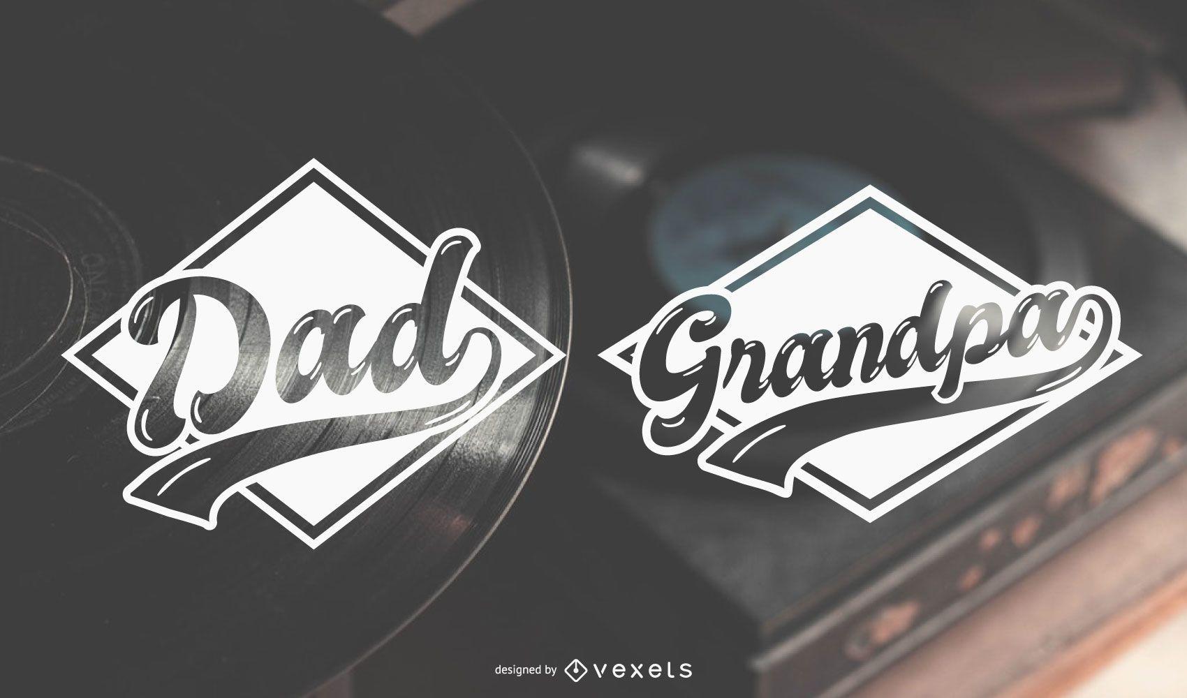 Desenhos de etiquetas para papai e vovô