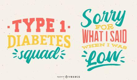 Letras de la diabetes de diseño vectorial