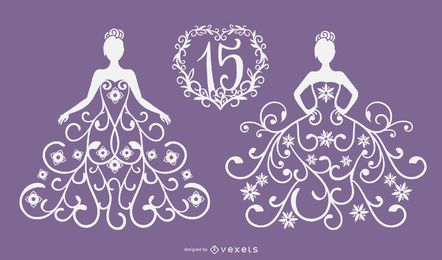 Quinceanera Papercut Vector Design