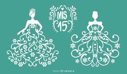 Quinceanera Papercut Vector Set