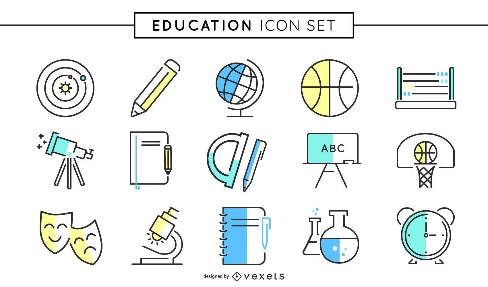 Conjunto de iconos de colores de educación