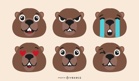 Conjunto Emoji Castor