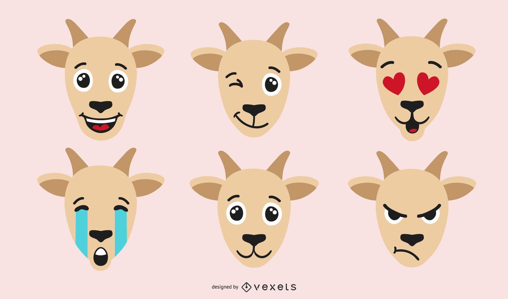Conjunto de emoji de cabra de color