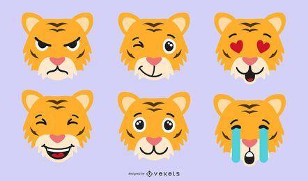 Conjunto de vectores emoji de tigre