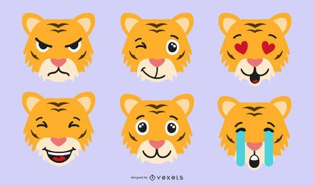 Tiger emoji vector set