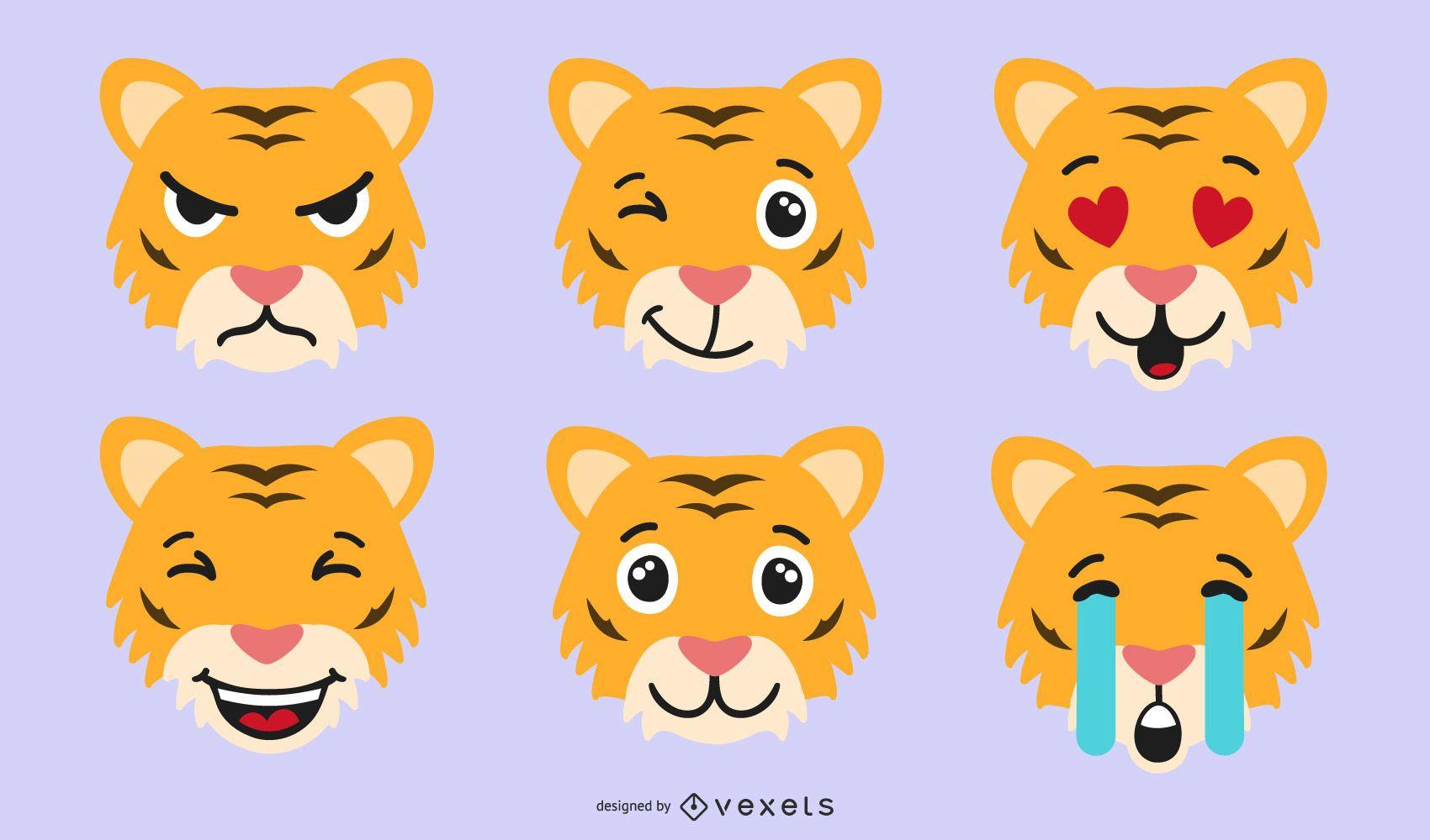 Conjunto de vector de emoji de tigre