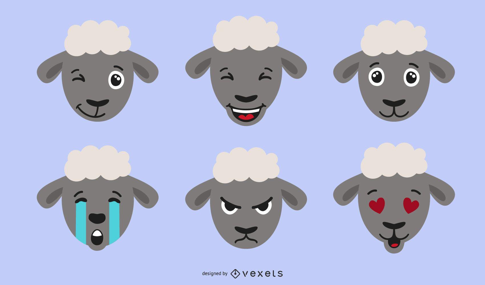 Schaf Emojis Illustration
