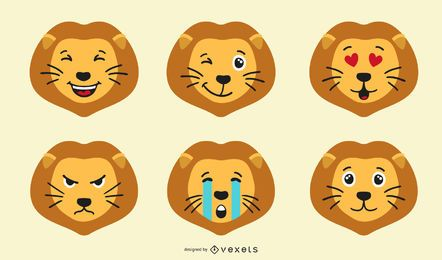 Löwe Emoji Set