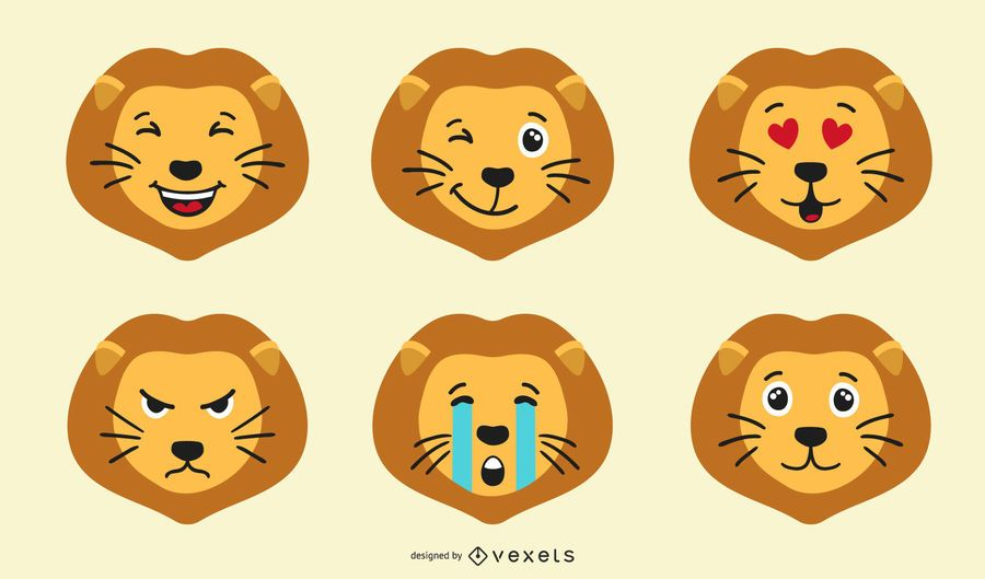 Lion Emoji Set