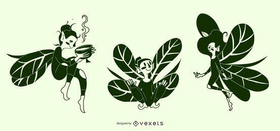 Ilustraciones de silueta de hadas