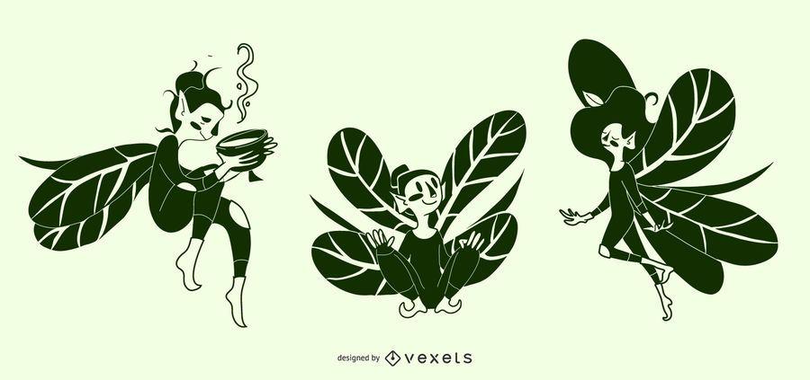 Ilustrações de silhueta de fada