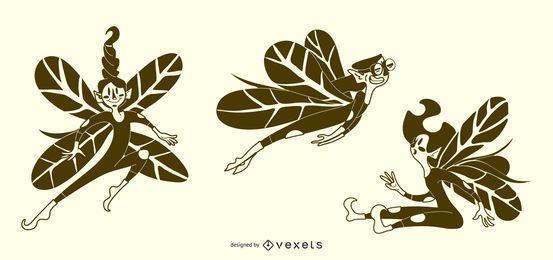 Conjunto de vetores de ilustrações de fada
