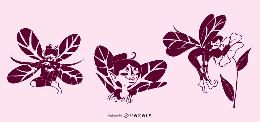 Happy Fairy Vector Set