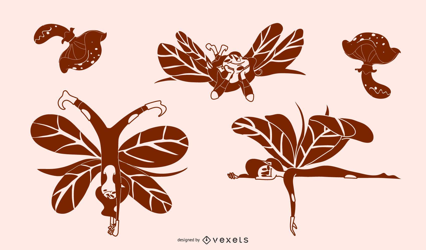 Forest fairies silhouette set