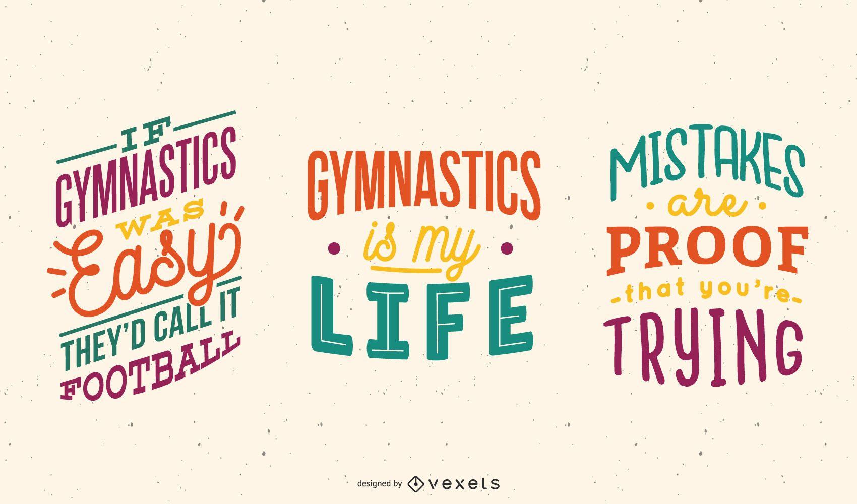 Conjunto de letras de gimnasia