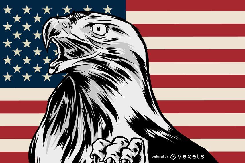 Patriotic american eagle illustration