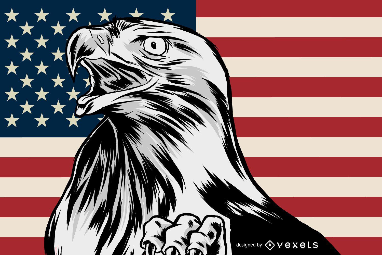 Ilustração de águia americana patriótica