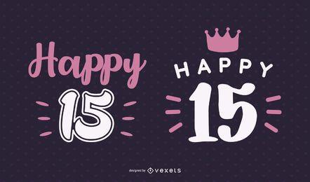 Happy 15 Schriftzug Set