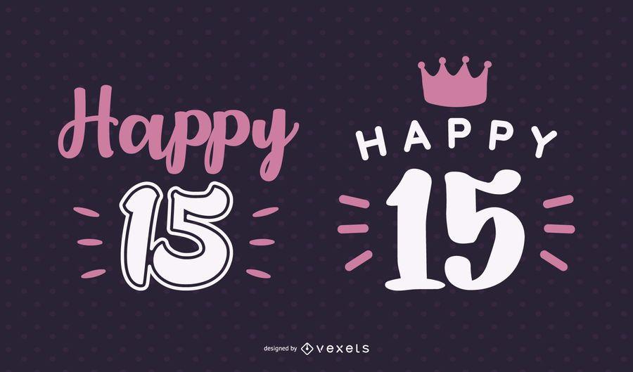 Feliz 15 conjunto de letras