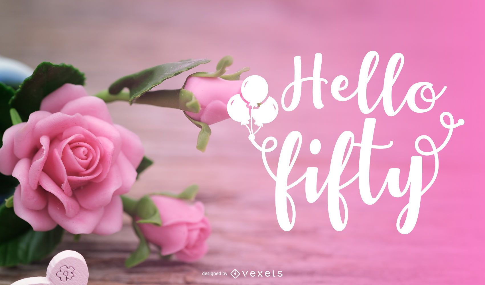 Hello Fifty Floral Background Design