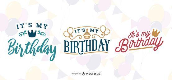 É meu aniversário Lettering Set