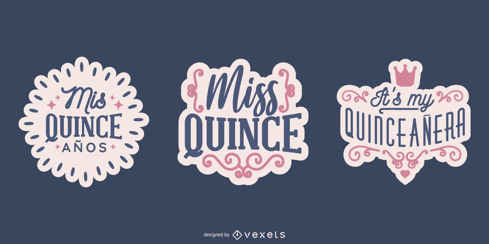 Conjunto de diseño de letras QUINCE