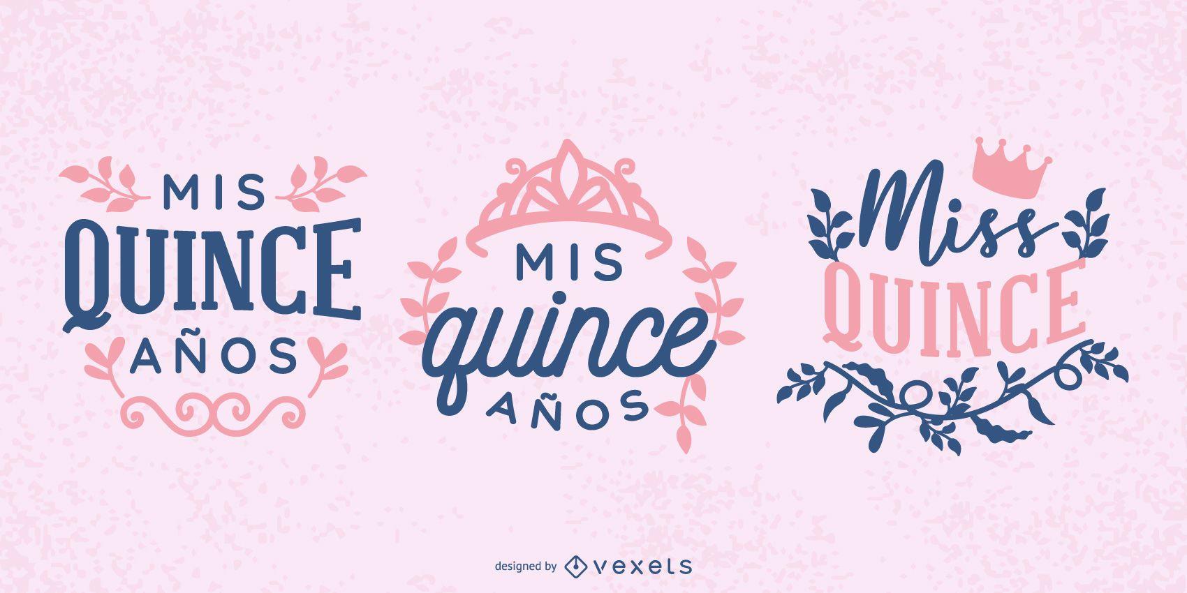 Adoráveis ilustrações de texto da Quinceañera