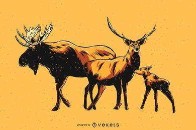 Ilustración de familia de alces dibujados a mano