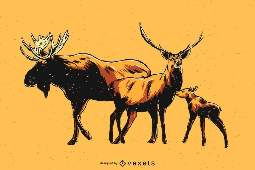 Hand drawn moose family illustration