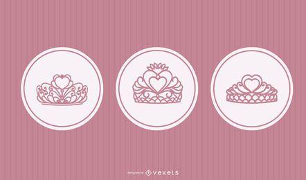Conjunto de vector de princesa tiara