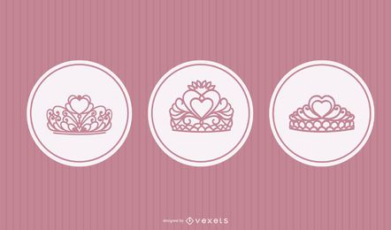 Princess tiara vector set