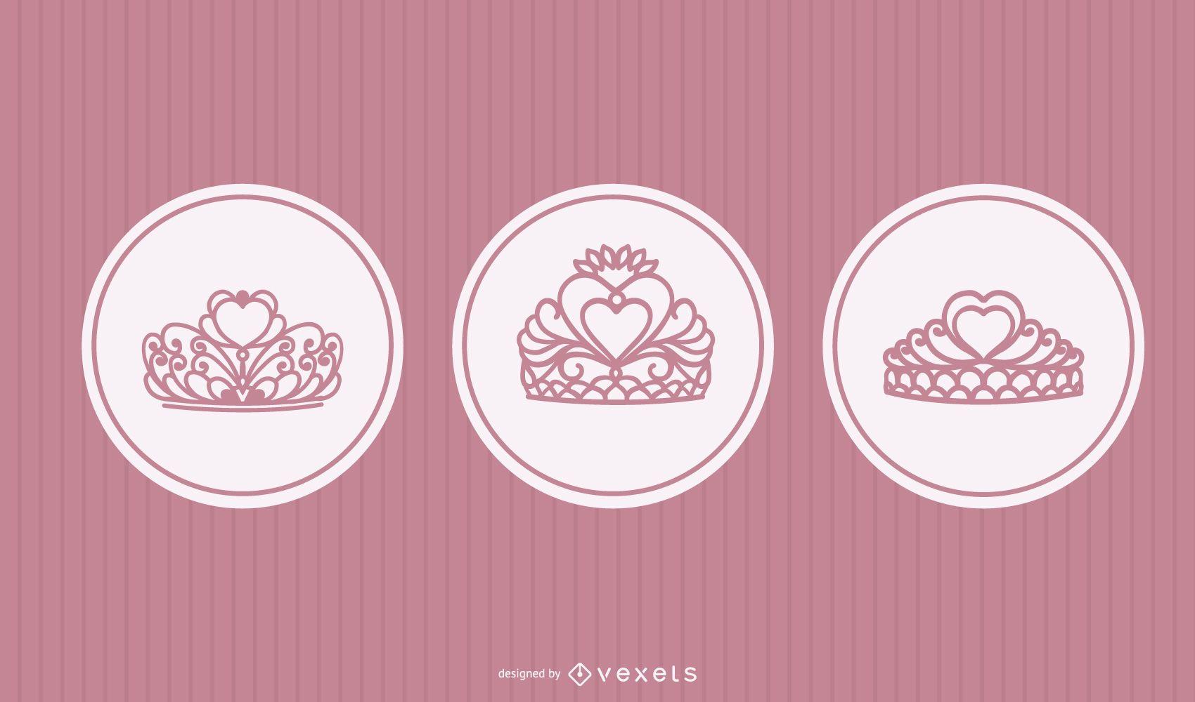 Conjunto de vetores de tiara princesa