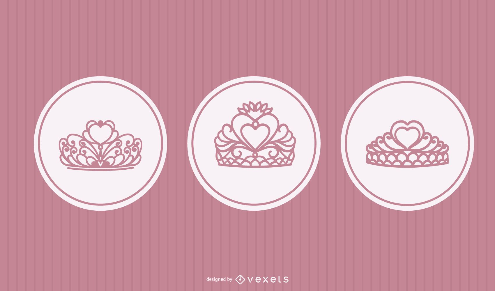 Princess tiara vector set