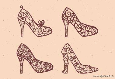 Conjunto de vectores de zapatos de princesa