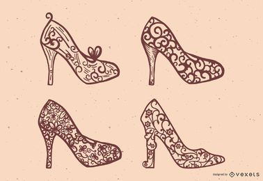 Princess shoes vector set