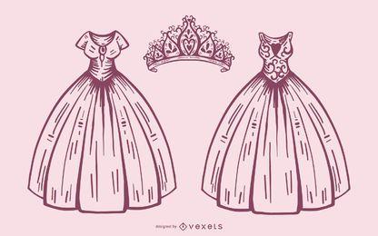 Conjunto de vestido e coroa de princesa