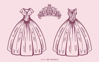 Princess dress and crown set