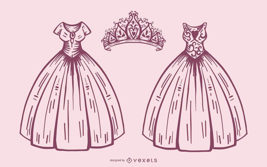 Vestido de princesa e coroa