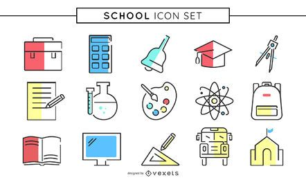 Colored school icon set