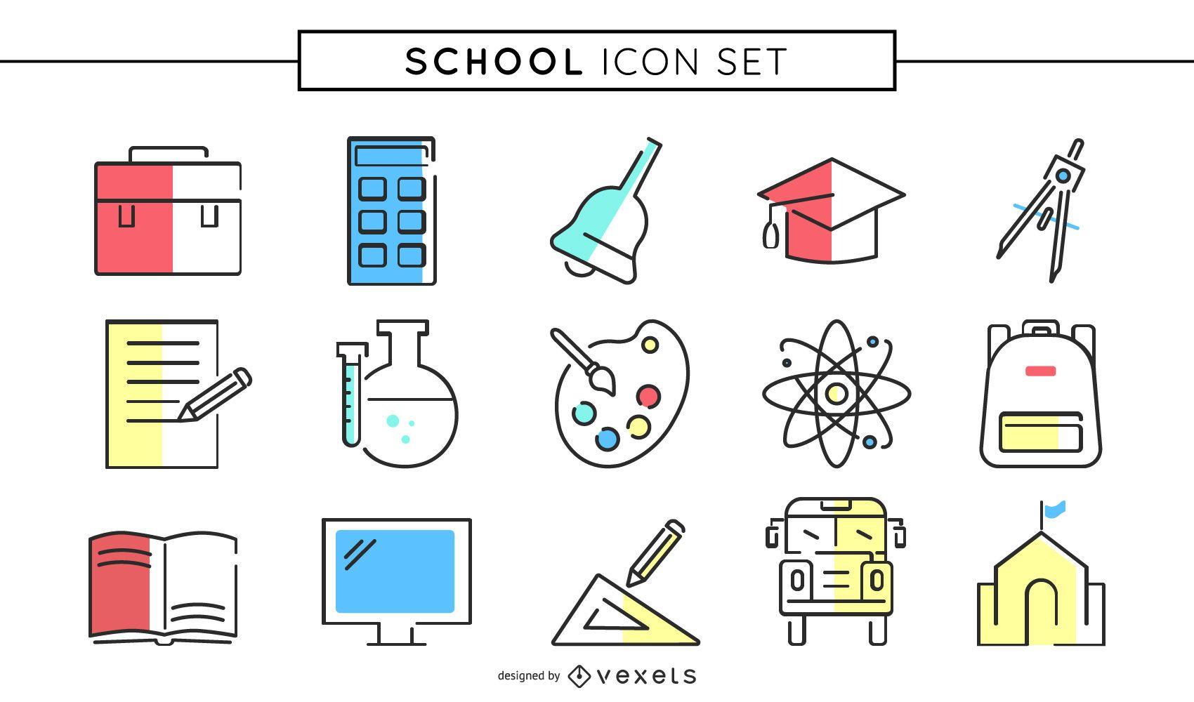 Conjunto de ícones coloridos de escola